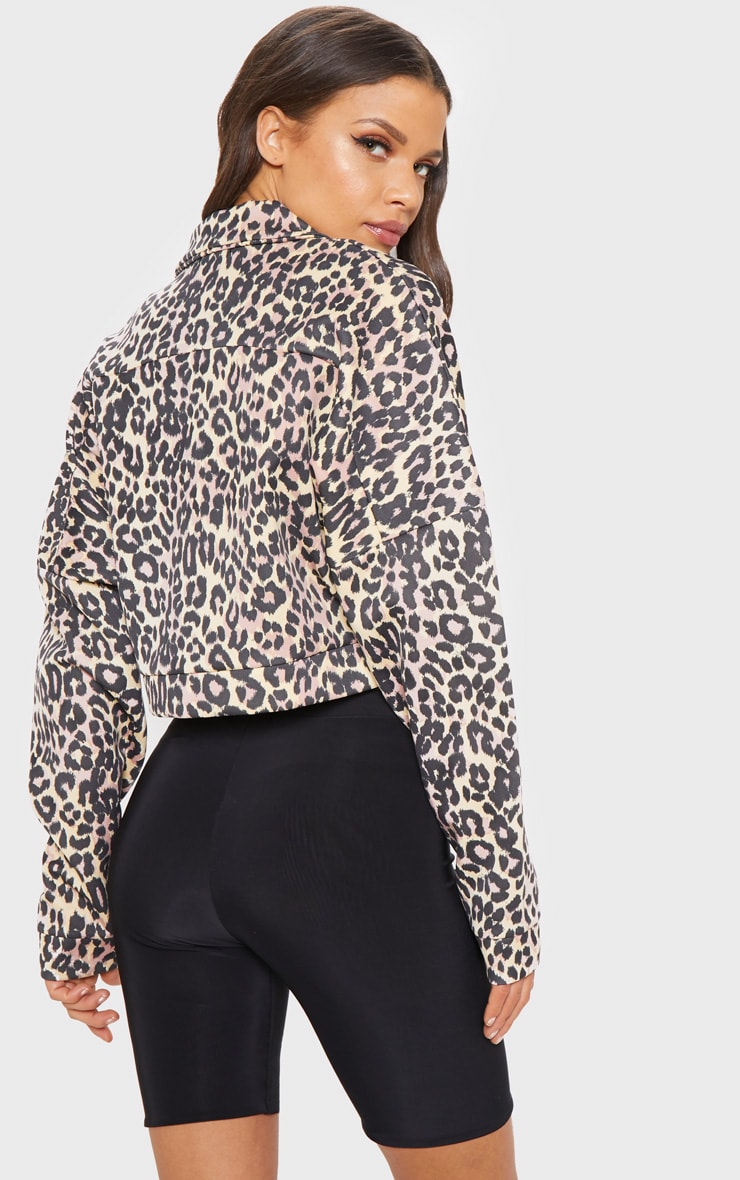 Veste camioneur en néoprène gris-pierre imprimé léopard 2