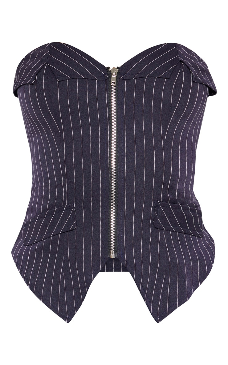 Navy Pinstripe Bandeau Zip Front Corset Long Top 3