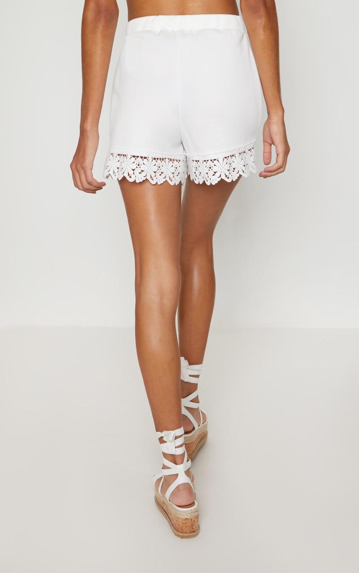 White Crochet Trim Short 4
