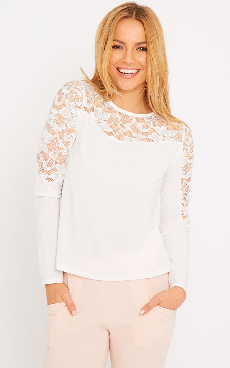 Loretta White Long Sleeve Lace Panel Top 1