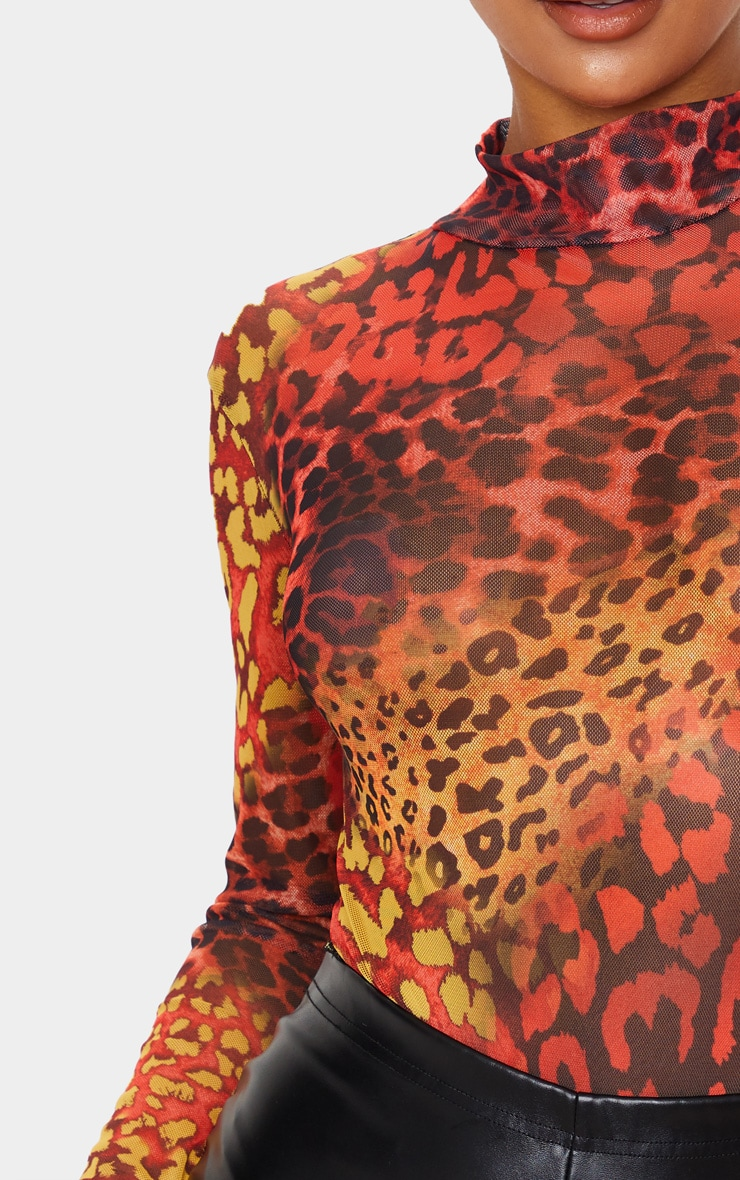 Red Leopard Mesh High Neck High Leg Bodysuit 4