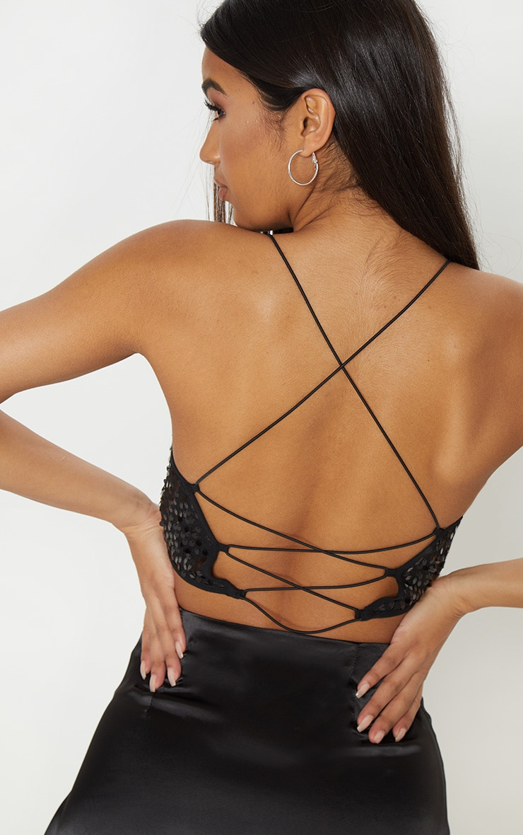 Black Cowl Neck Sequin Strappy Crop Top 5