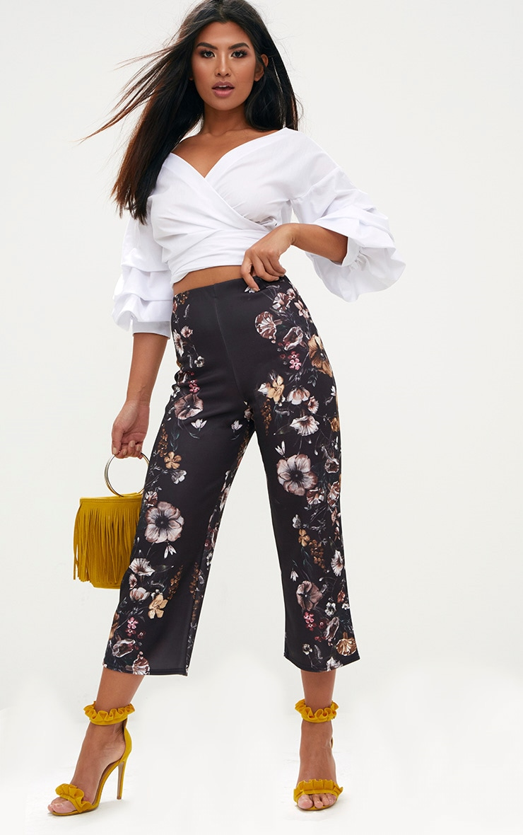 Black Floral Placement Culottes 1