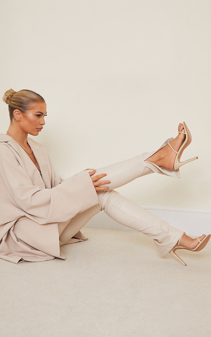 Nude Lycra Double Strap Round High Heeled Mules 2