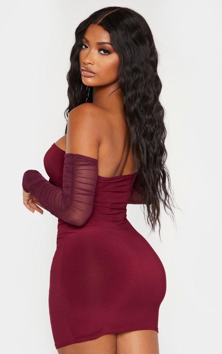Shape Burgundy Tie Bust Ruched Mesh Sleeve Bodycon Dress 2
