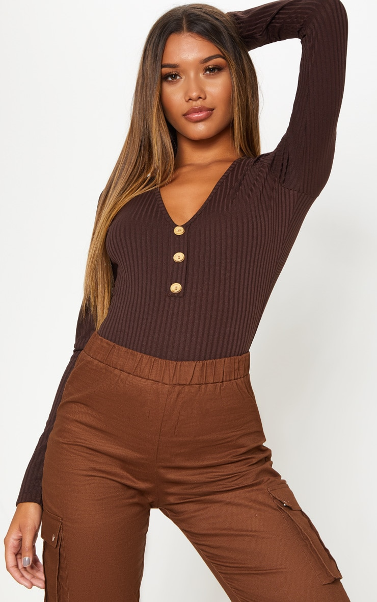 Chocolate Long Sleeve Button Rib Bodysuit 5