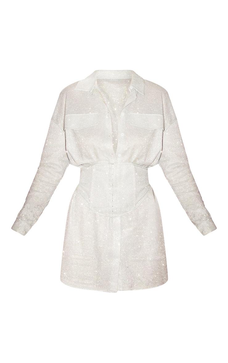 Silver Glitter Long Sleeve Waist Panel Shirt Dress 3