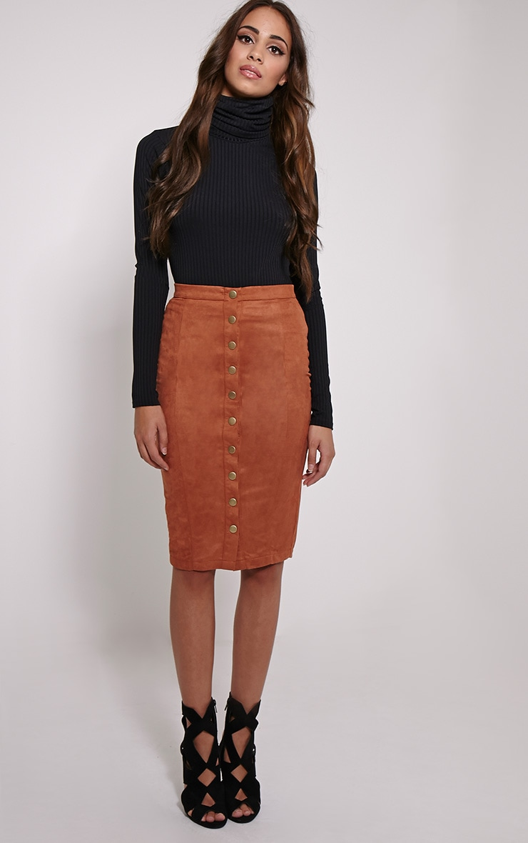 Meemee Tan Button Front Suede Midi Skirt 1