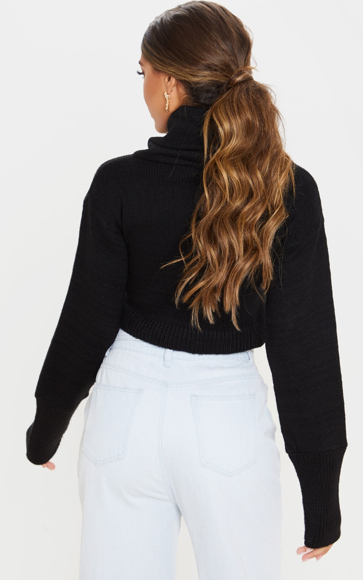 Black Roll Neck Cropped Sweater 2
