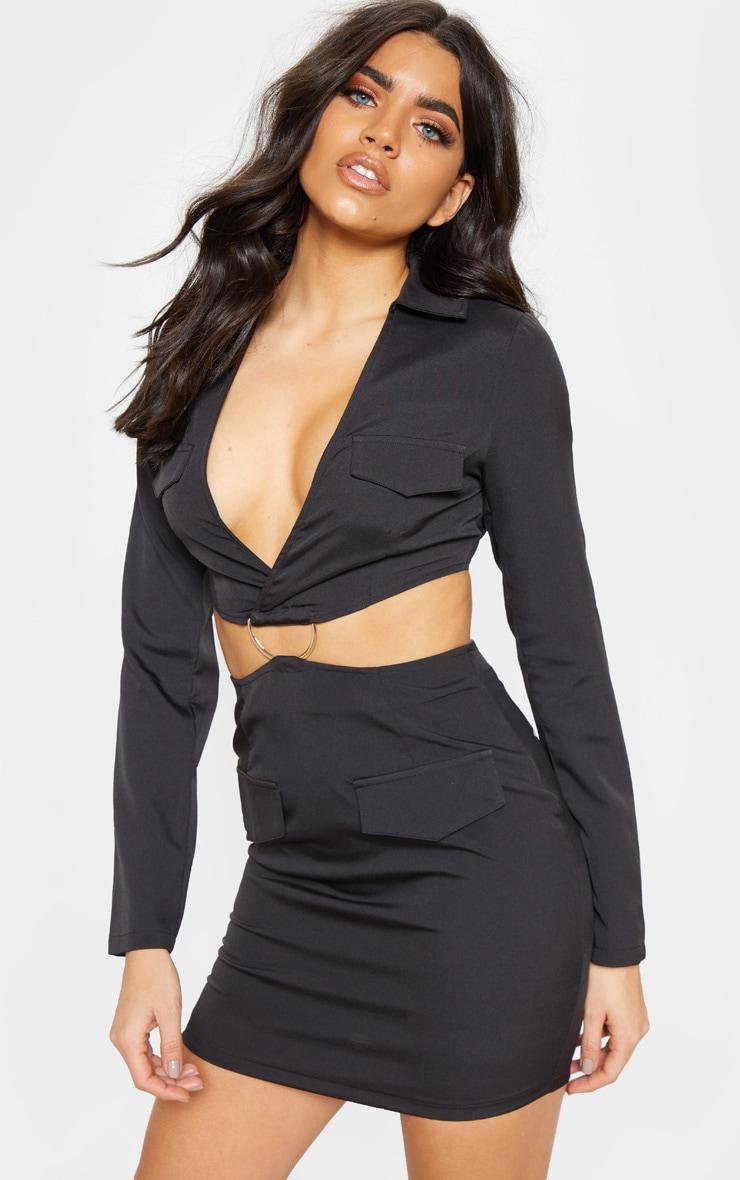 Black Utility Cut Out Bodycon Dress 4