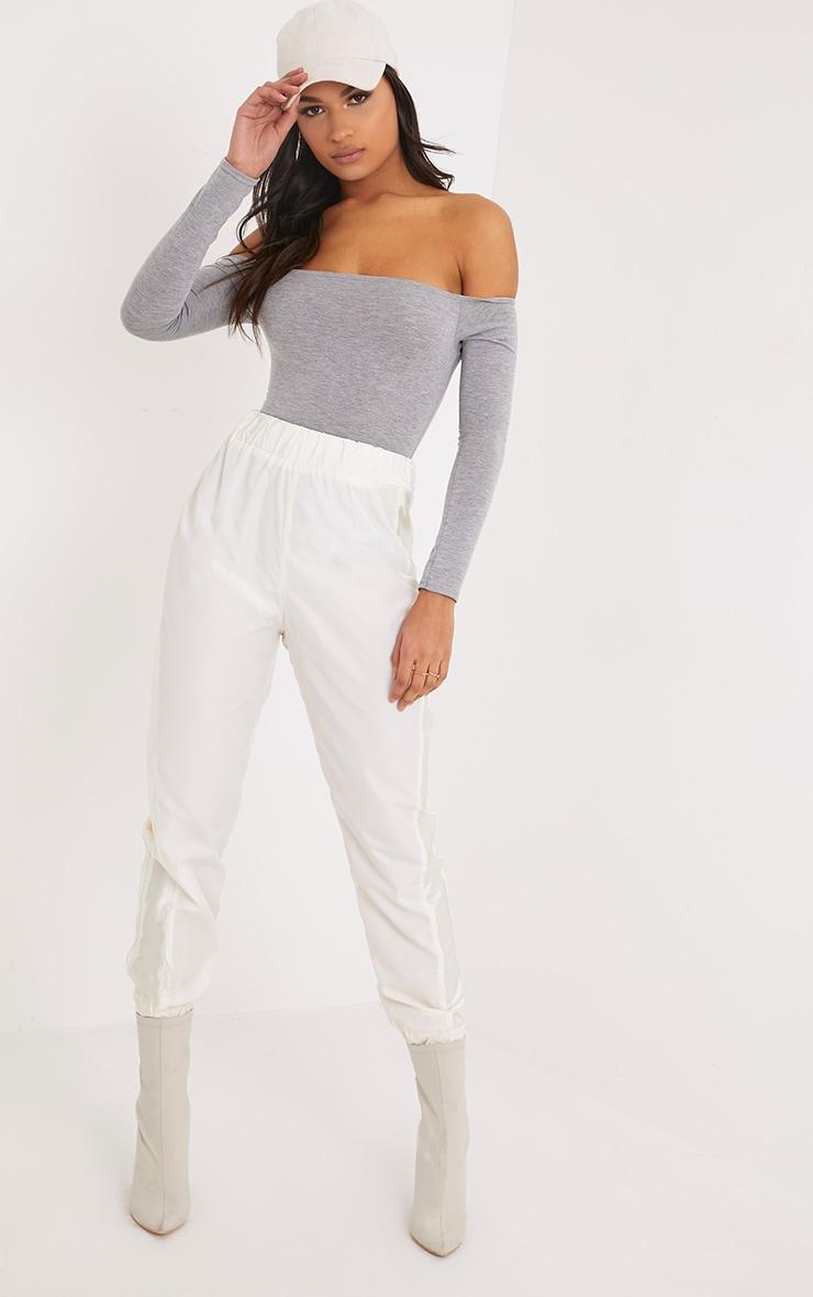 Basic Grey Marl Bardot Bodysuit 5