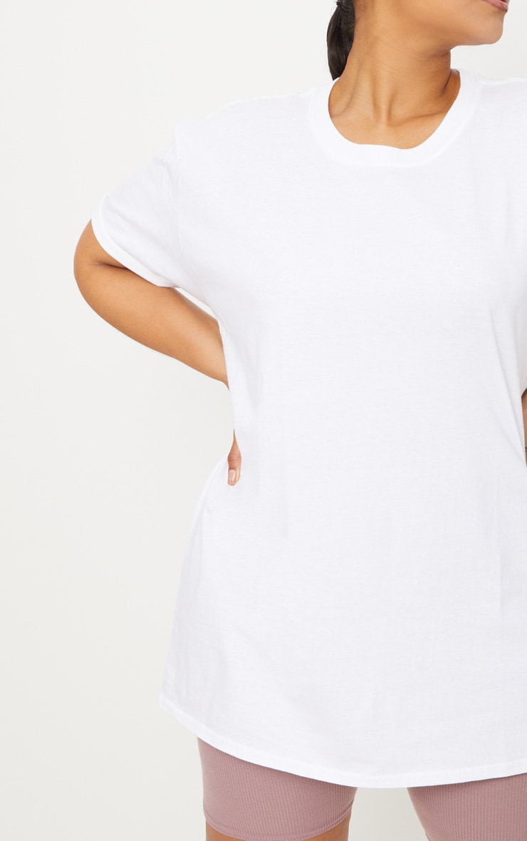 Plus White Oversized Boyfriend T Shirt  5