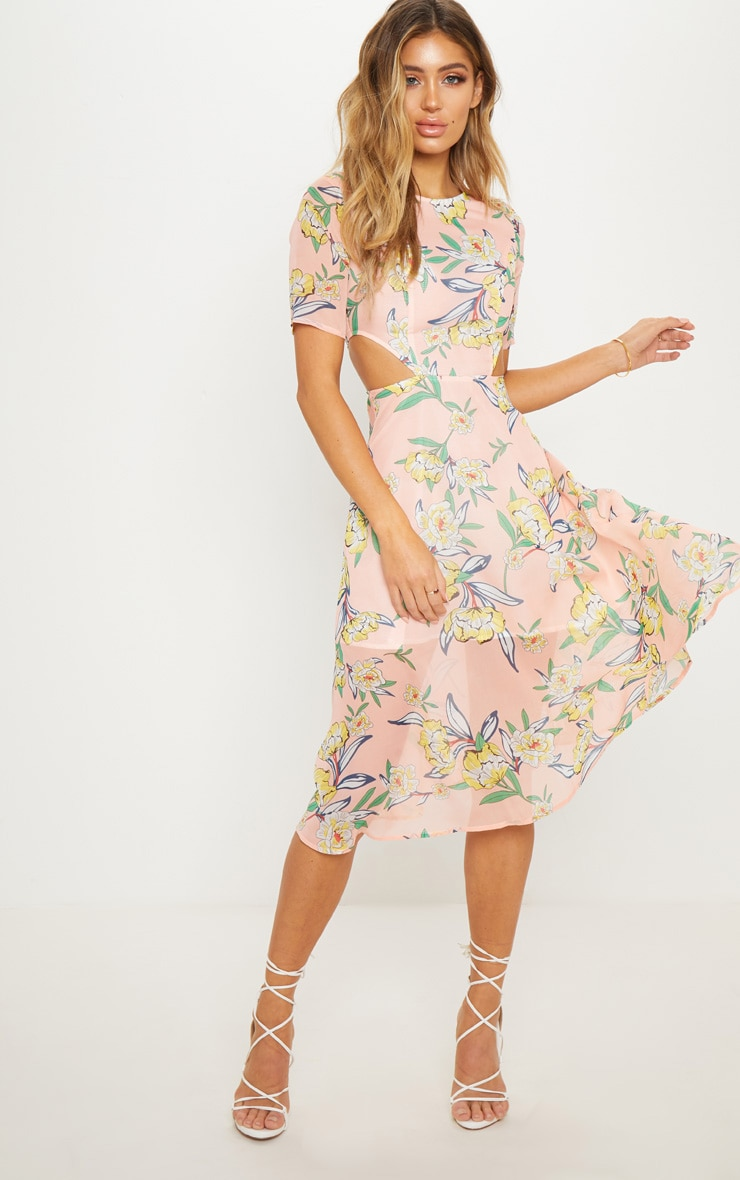 Pink Floral Cap Sleeve Cut Out Midi Dress 4