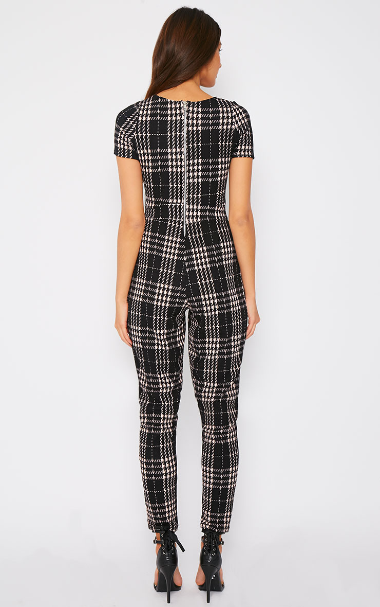 Cara Black Dogtooth Check Jumpsuit  2