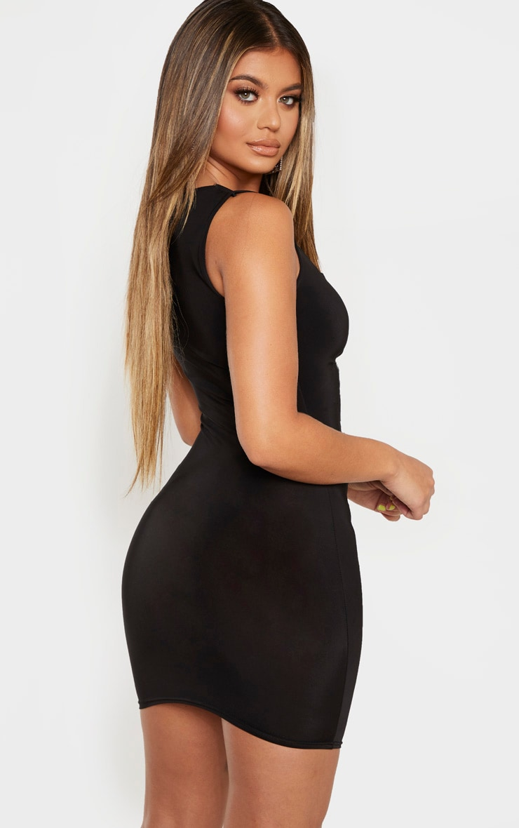 Black Slinky Ruched Front Square Neck Bodycon Dress 2