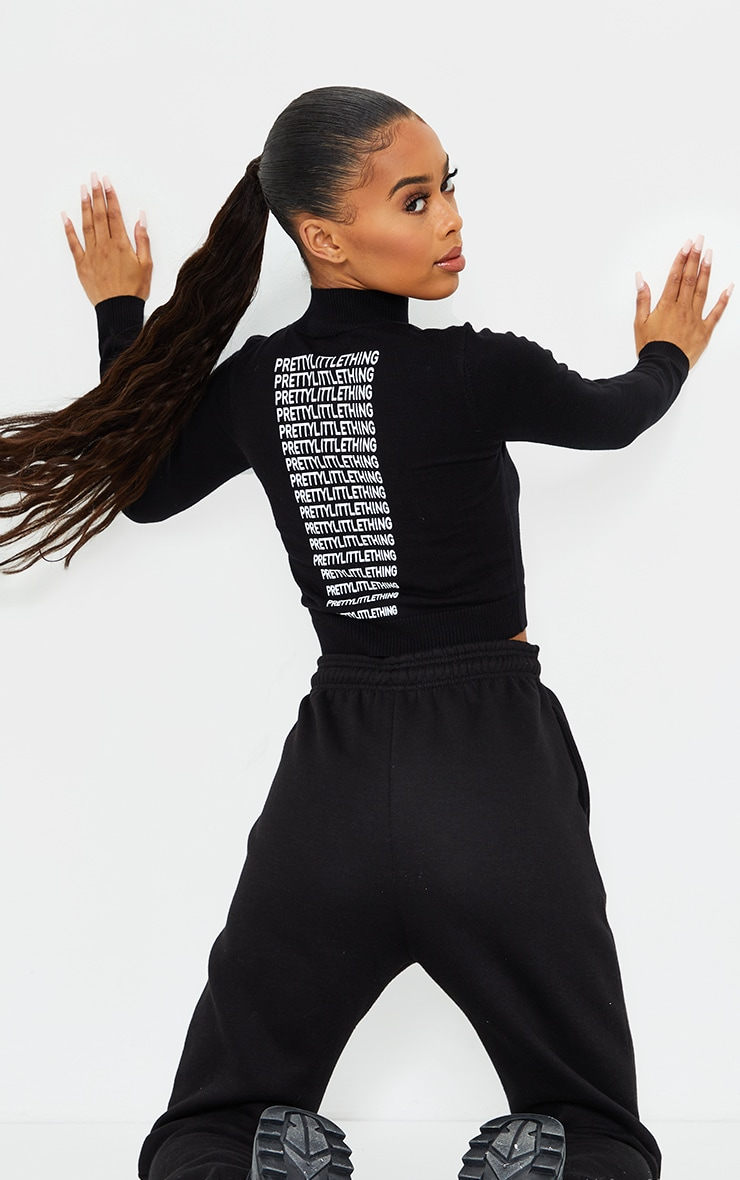 PRETTYLITTLETHING Black Back Cropped Knitted Top 1