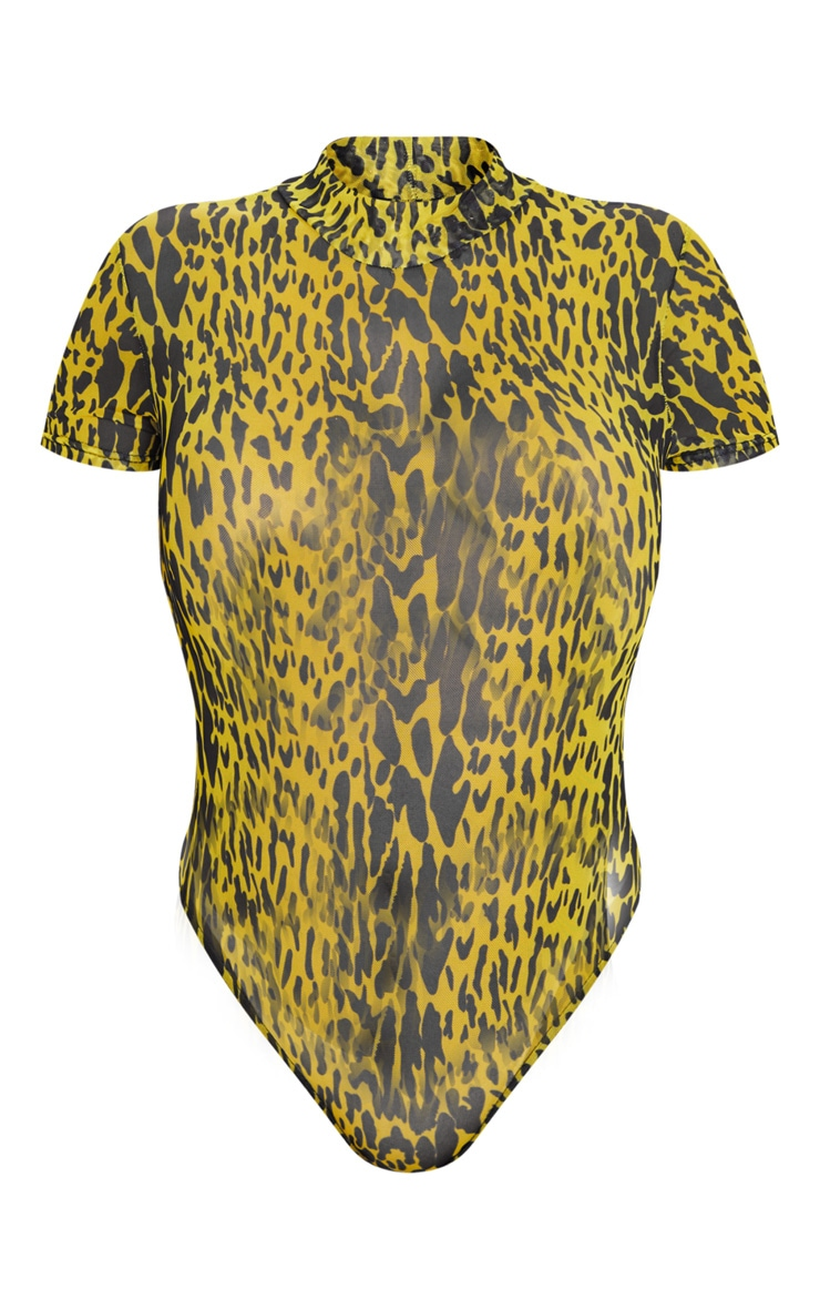 Yellow Leopard Print Mesh High Neck Short Sleeve Bodysuit 3