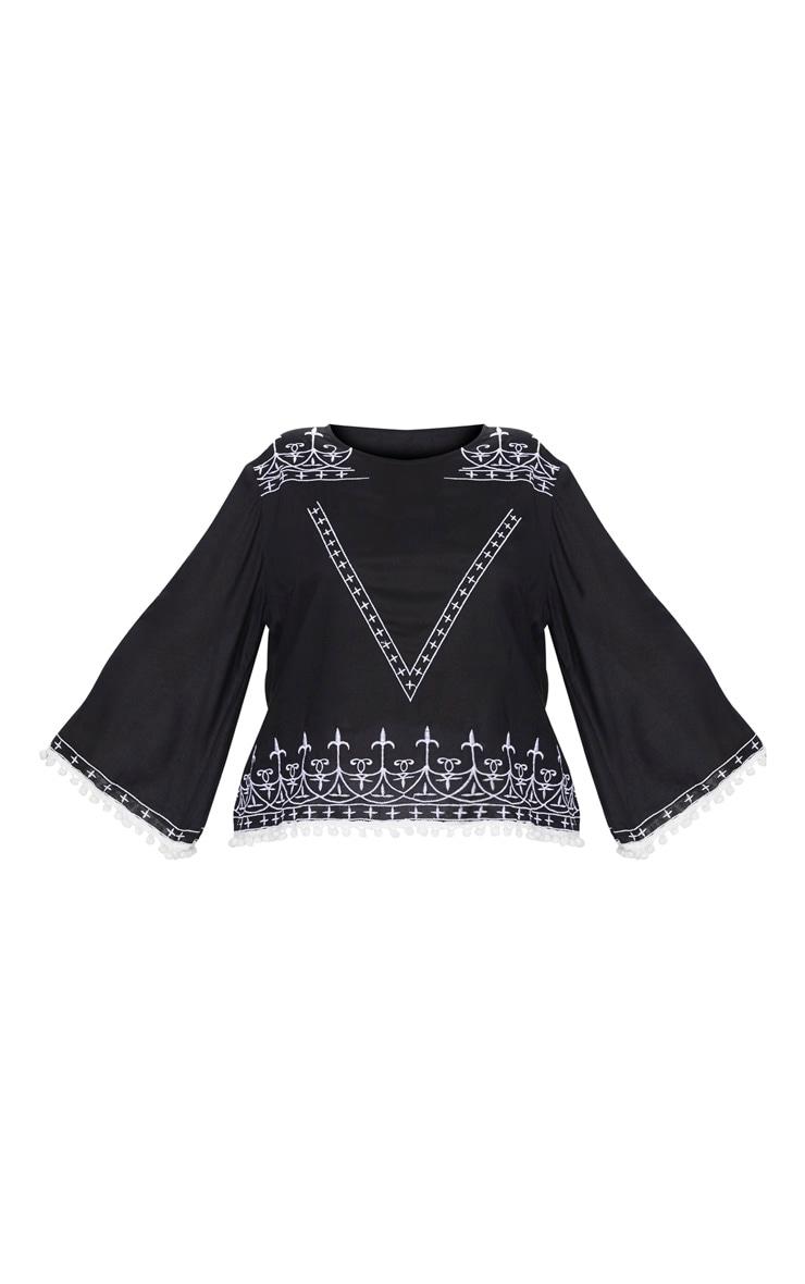 Plus Black Embroidered Pom Pom Trim Top 3