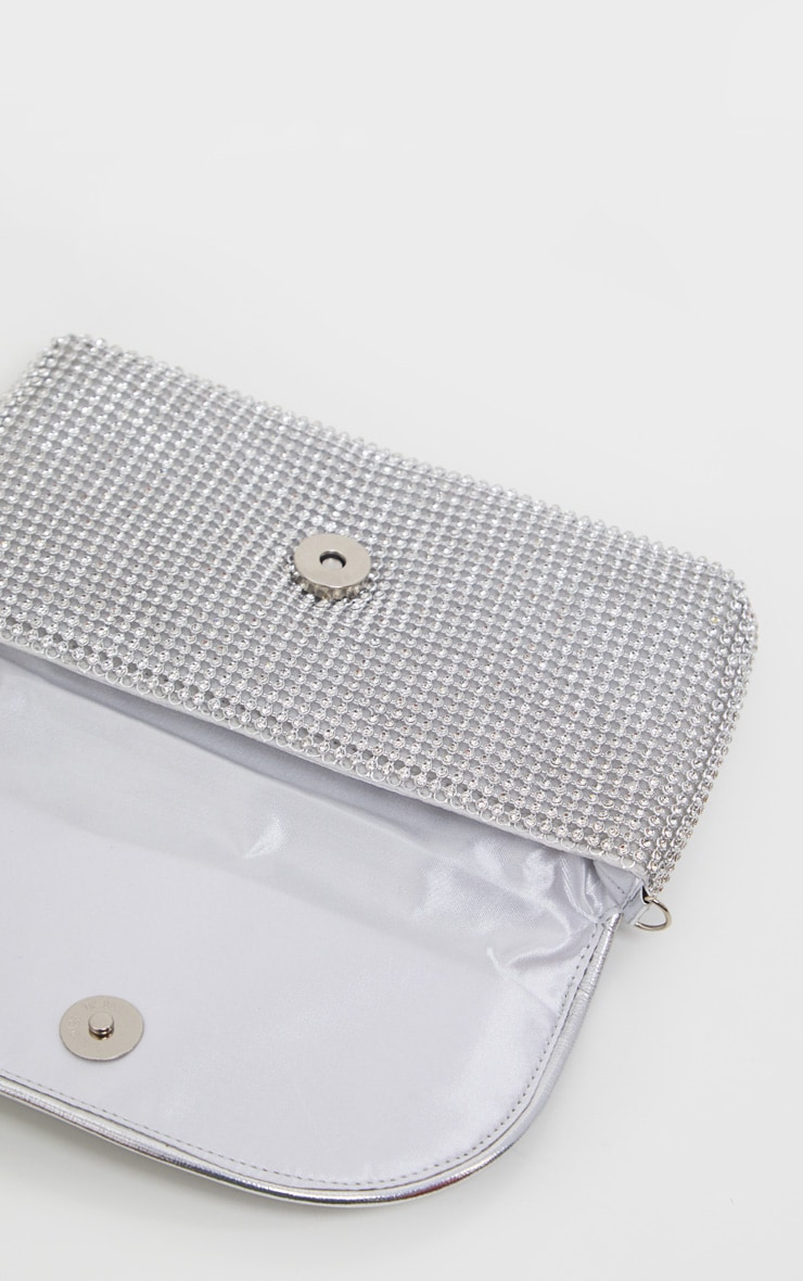 Silver Diamante Mini Clutch Bag  3