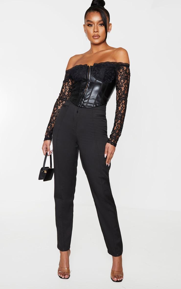 Black Lace Bardot Long Sleeve PU Bodice Blouse 3