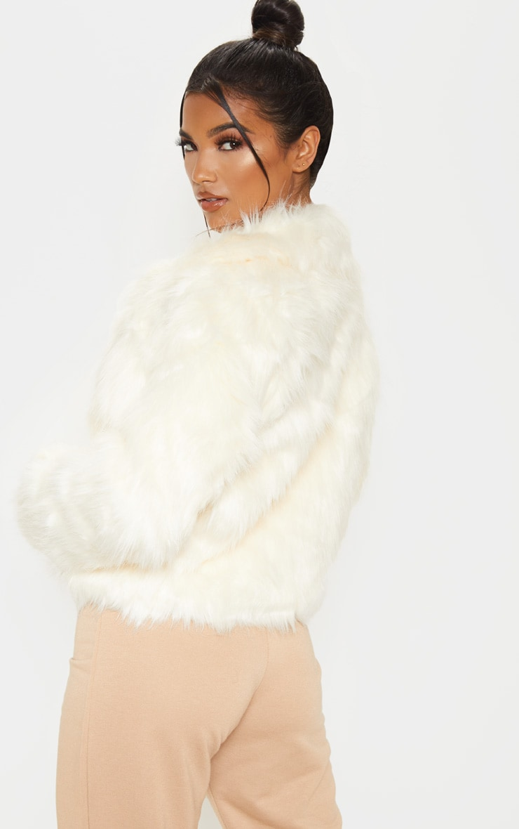 Cream Faux Fur Jacket 2