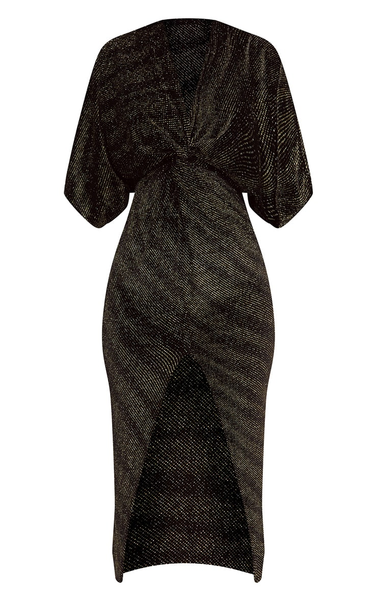 Black Plunge Batwing Sleeve Knotted Detail Midi Dress 3