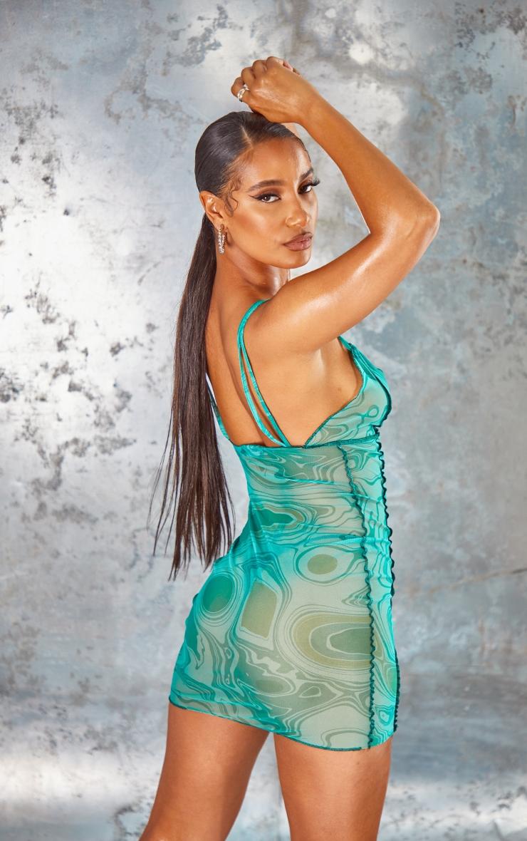 Green Swirl Sheer Mesh Overlock Stitch Strappy Bodycon Dress 2