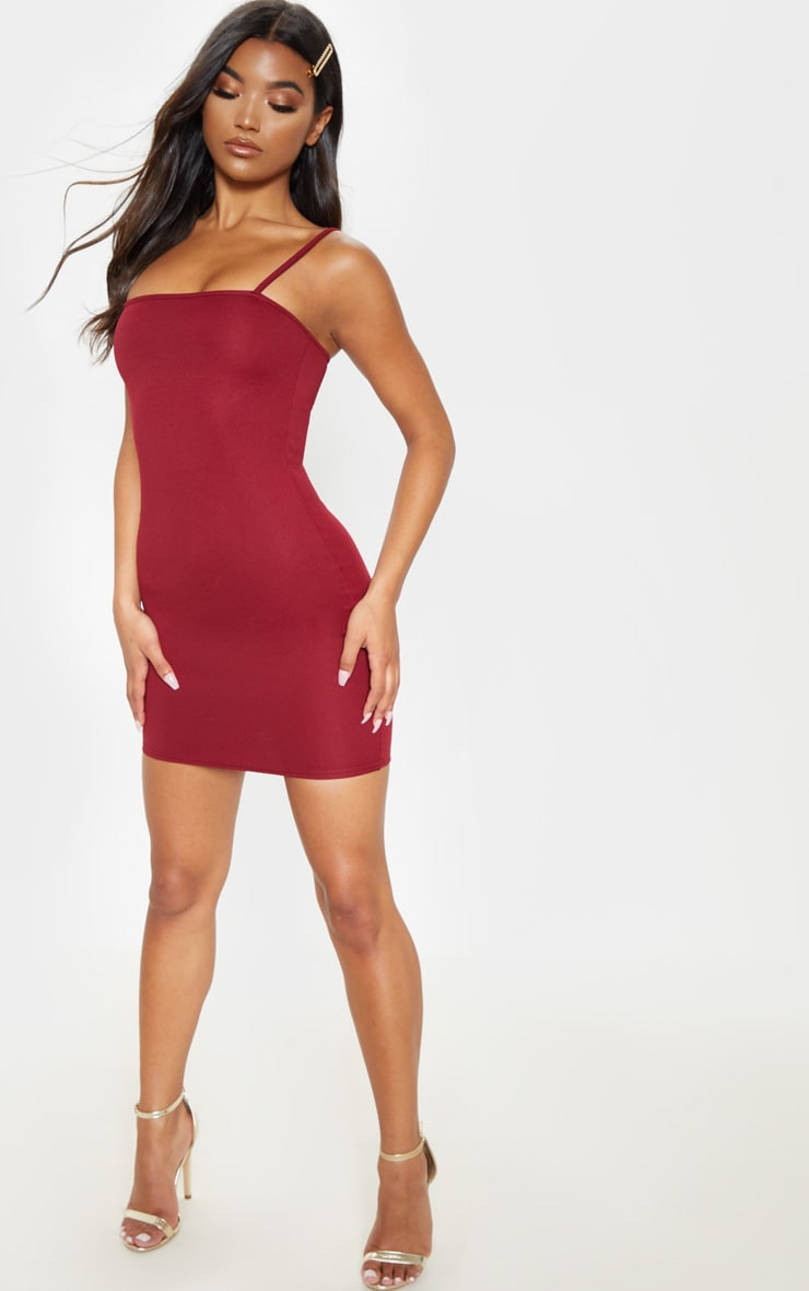Burgundy Straight Neck Bodycon Dress 4