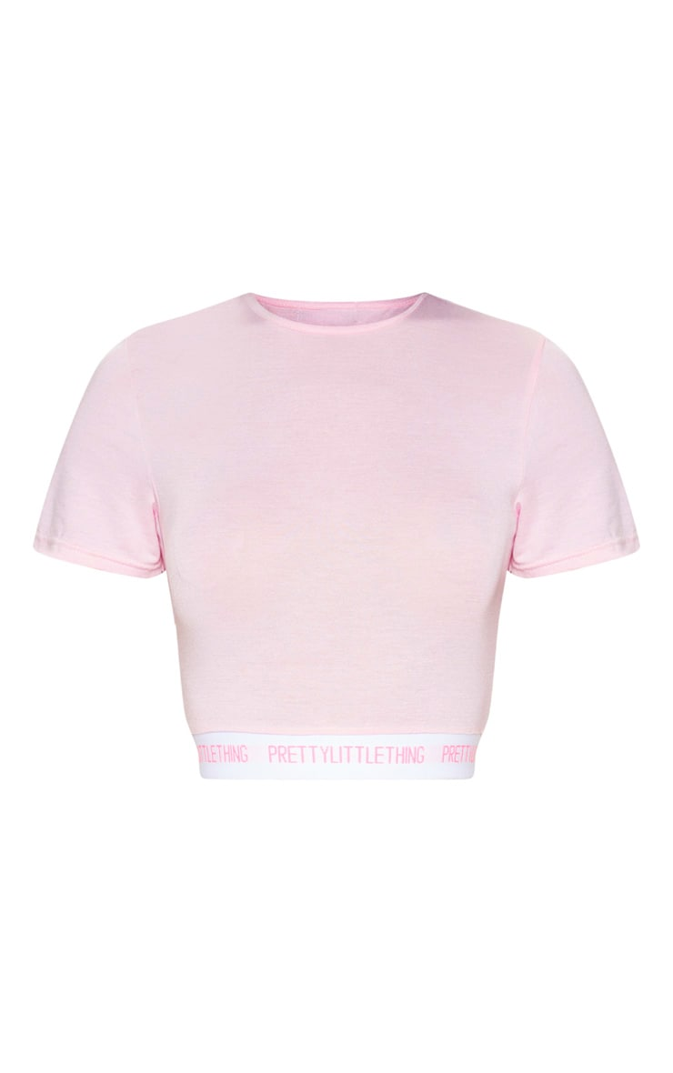PRETTYLITTLETHING Pink Tape Crop Top 3