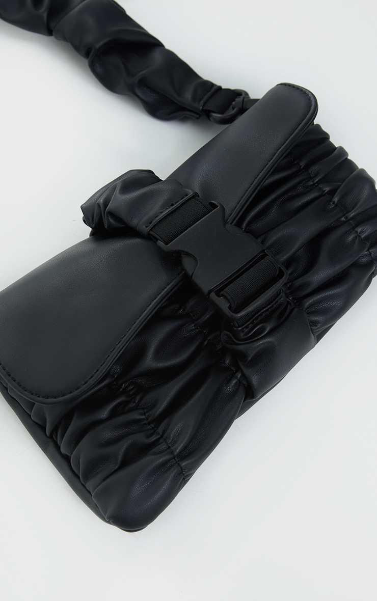 Black Ruched PU Cross Body Bag 3
