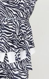 Black Zebra Print Shoulder Pad Wrap Plisse Blouse 4