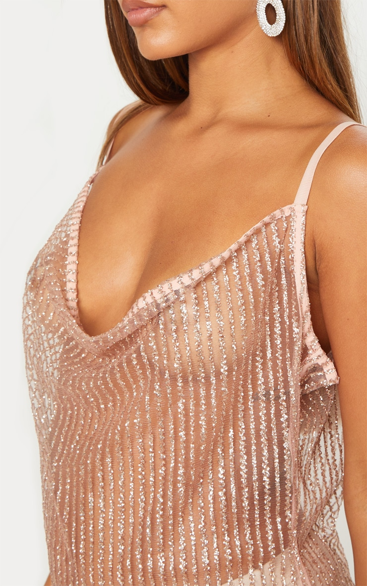 Rose Gold Glitter Sheer Cowl Neck Maxi Dress 5