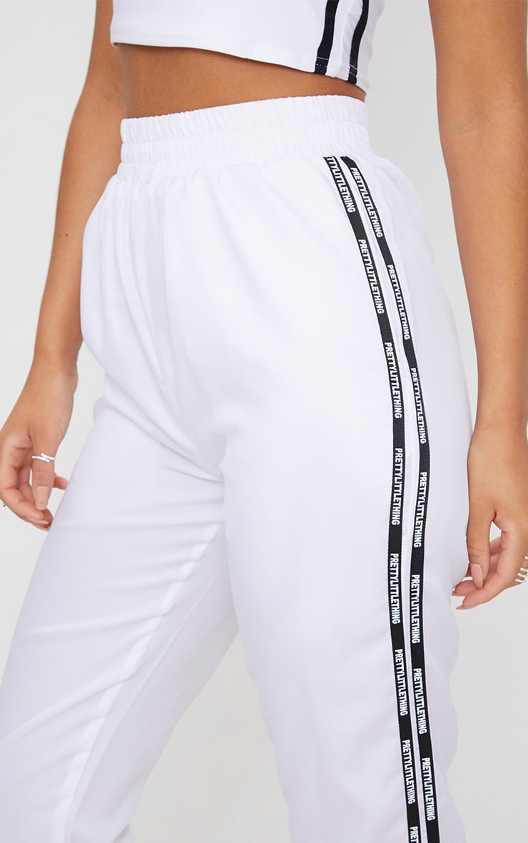 PRETTYLITTLETHING White Stripe Track Pants 5