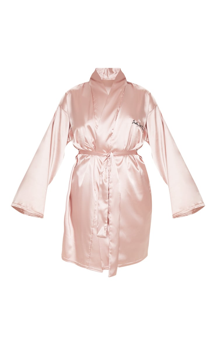 PRETTYLITTLETHING Plus Baby Pink Satin Robe 3