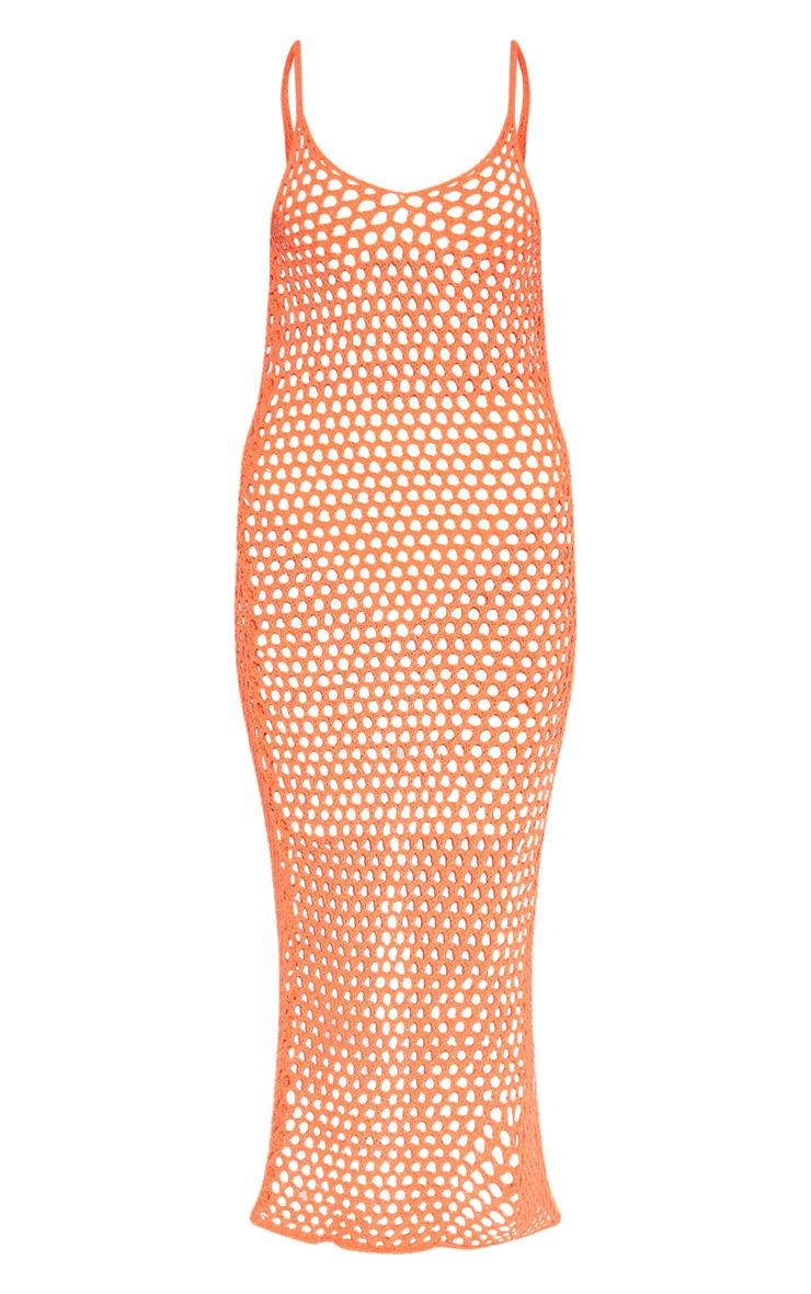 Orange Crochet Open Knit Midi Dress 3