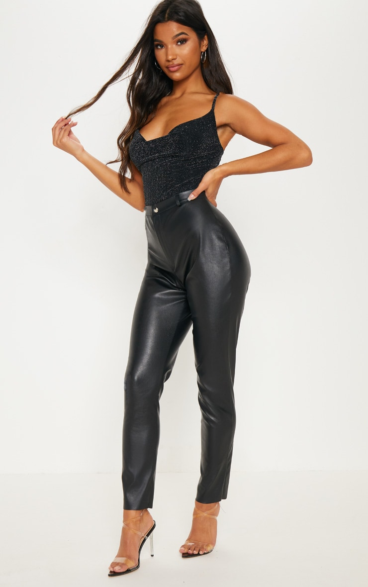 Black Glitter Textured Glitter Cowl Neck Bodysuit 5