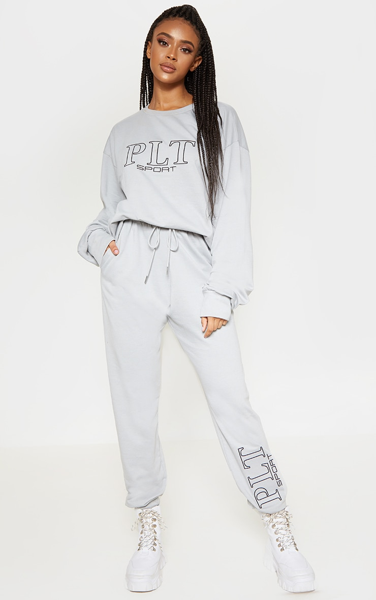 PRETTYLITTLETHING Grey Embroidered Oversized Sweatshirt 4