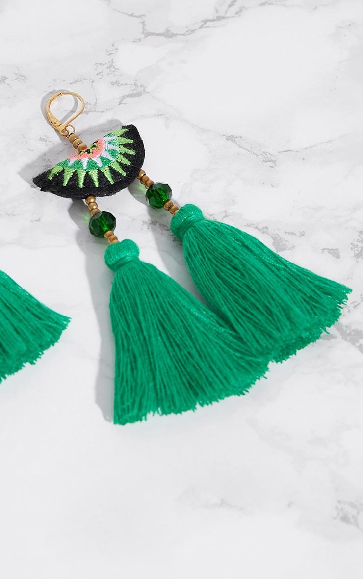 Green Melon Tassel Earrings 4