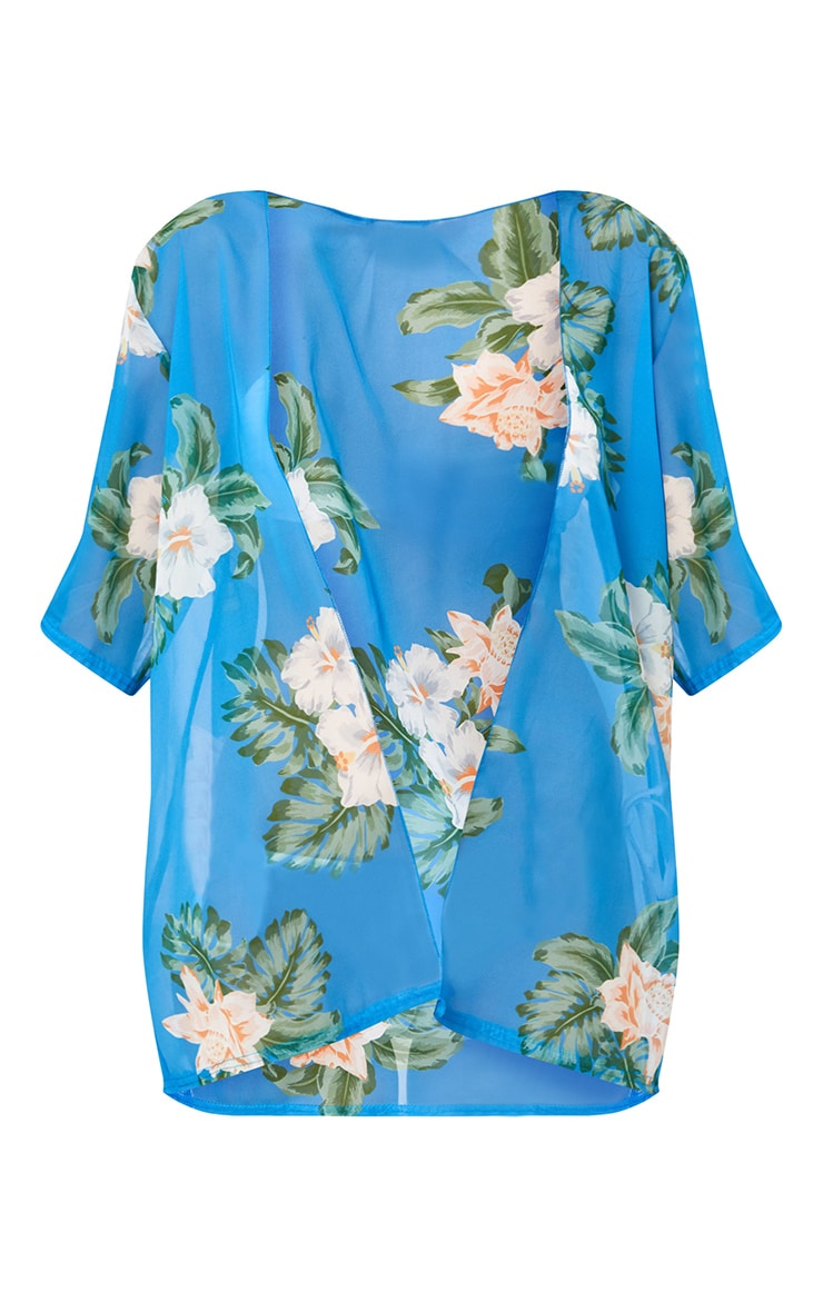 Blue Floral Print Sheer Beach Cover Up  3