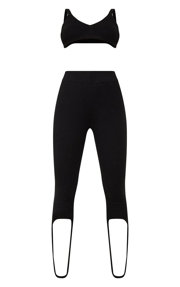 Black Ribbed Knitted Bralet And Stirrup Leggings Set 5