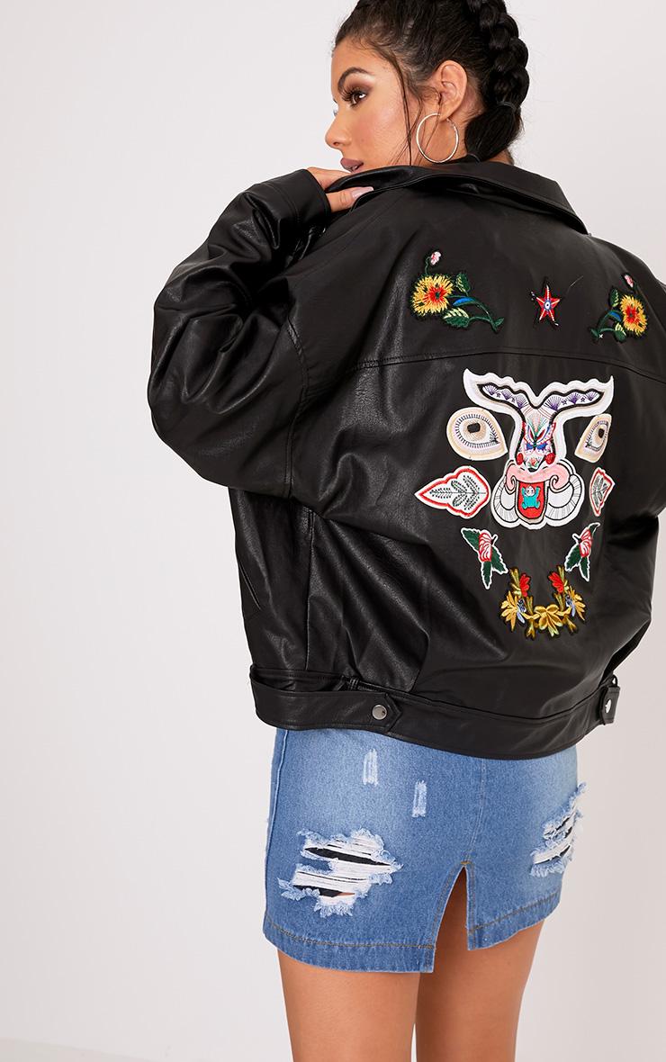 Aria Black Oversized Embroidered PU Jacket 1