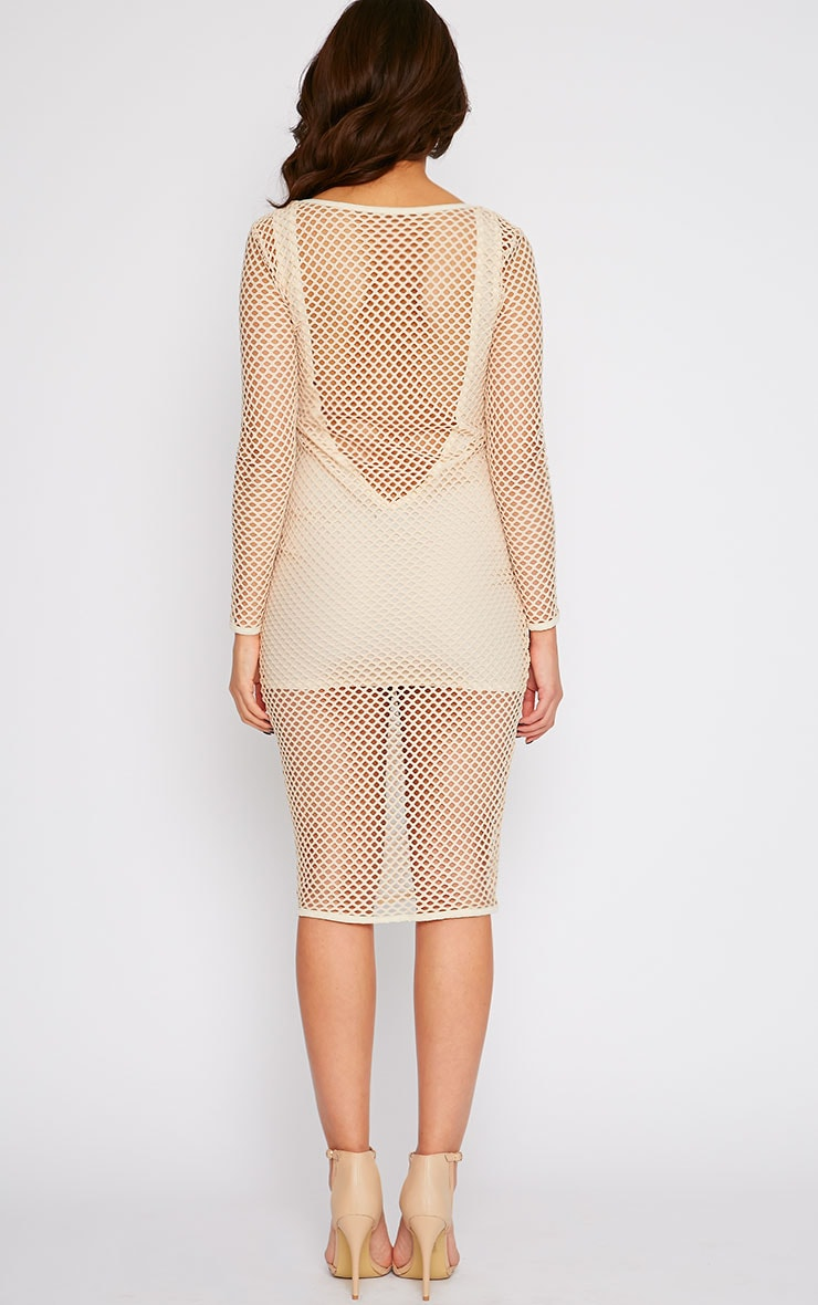 Karis Beige Netted Mesh Midi Dress 2