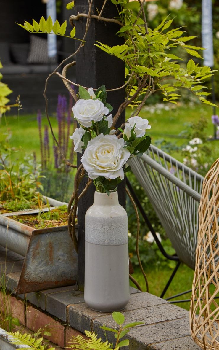White Silk Garden Rose Artificial Flower 2