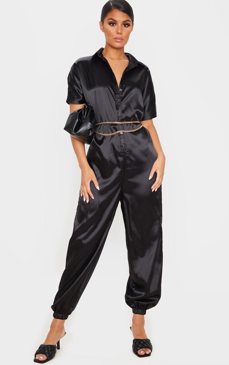 Black Bonded Satin Oversized Shirt Jumpsuit 4