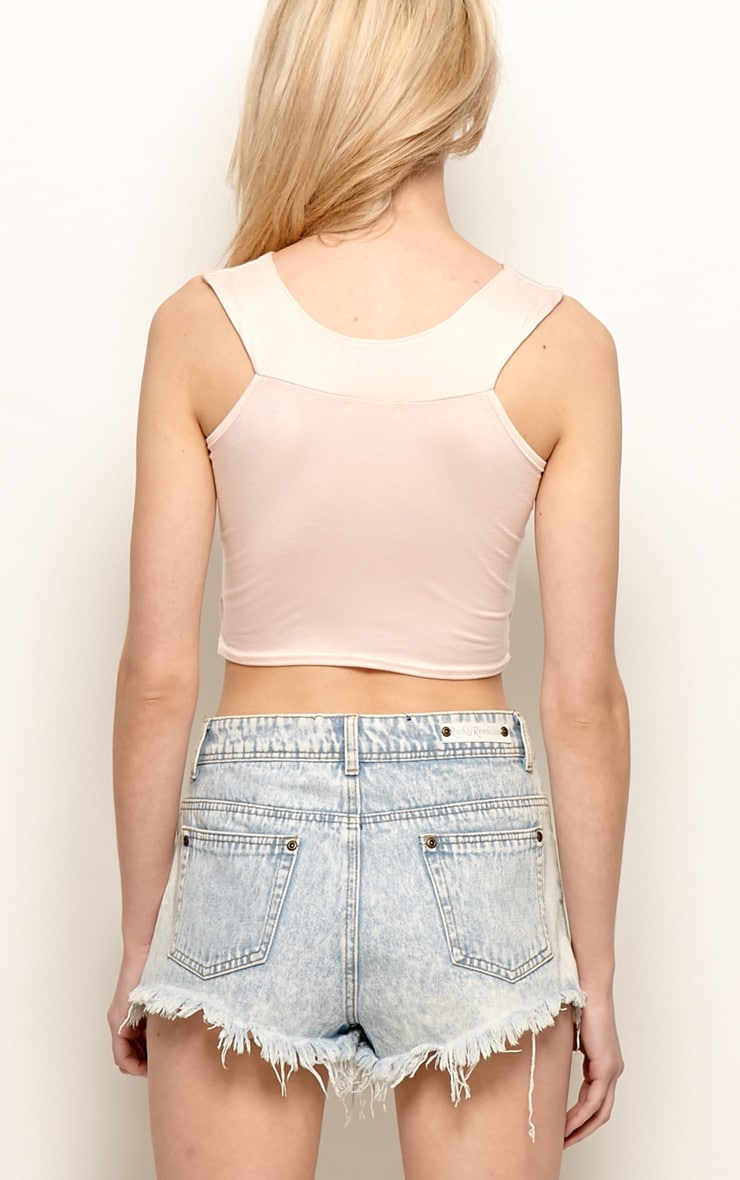 Sophia Pink Cut Out Crop Top 2
