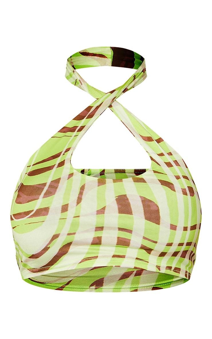 Lime Green Swirl Print Slinky Cross Front Halterneck Crop Top 5