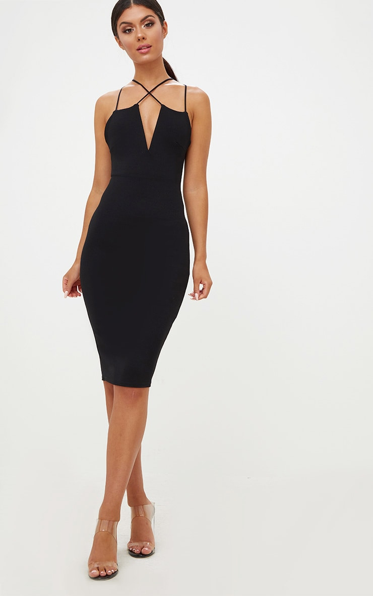 Black Cross Front Strappy Back Plunge Front Midi Dress 1