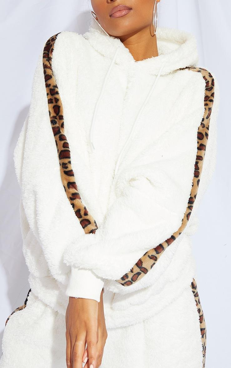 Cream Leopard Print Contrast Borg Oversized Hoodie 4