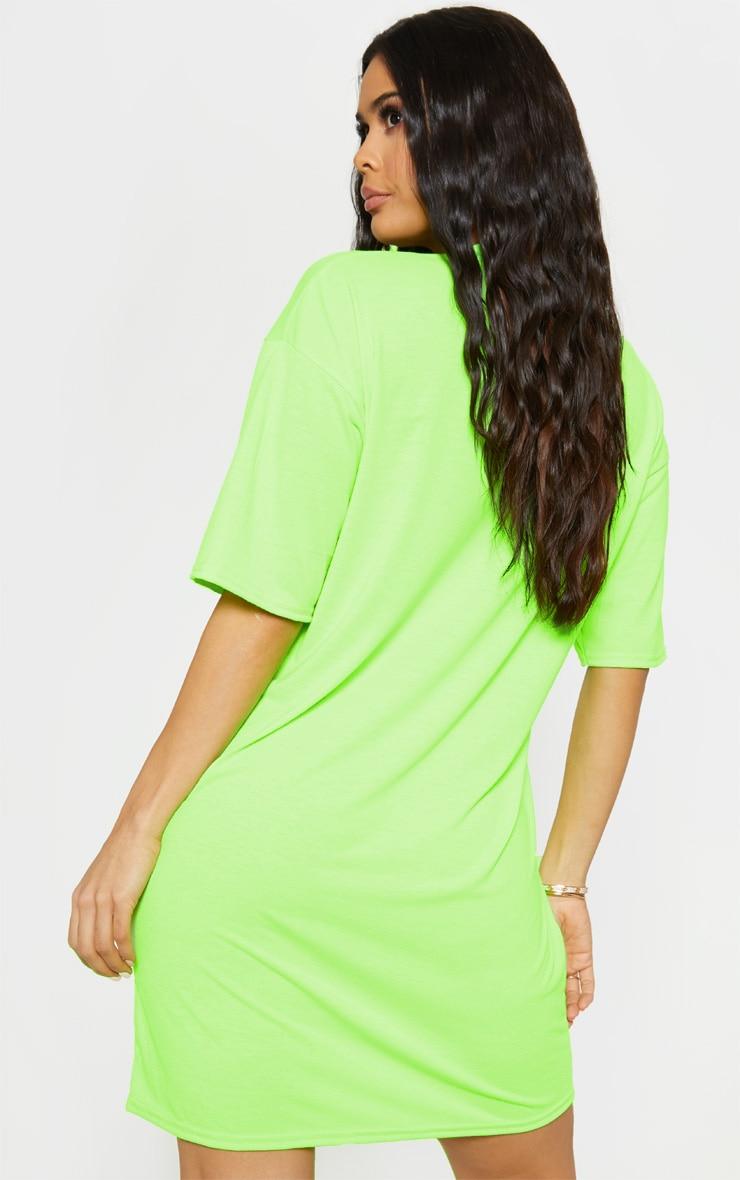 Lime Oversized Neon T Shirt Dress Dresses