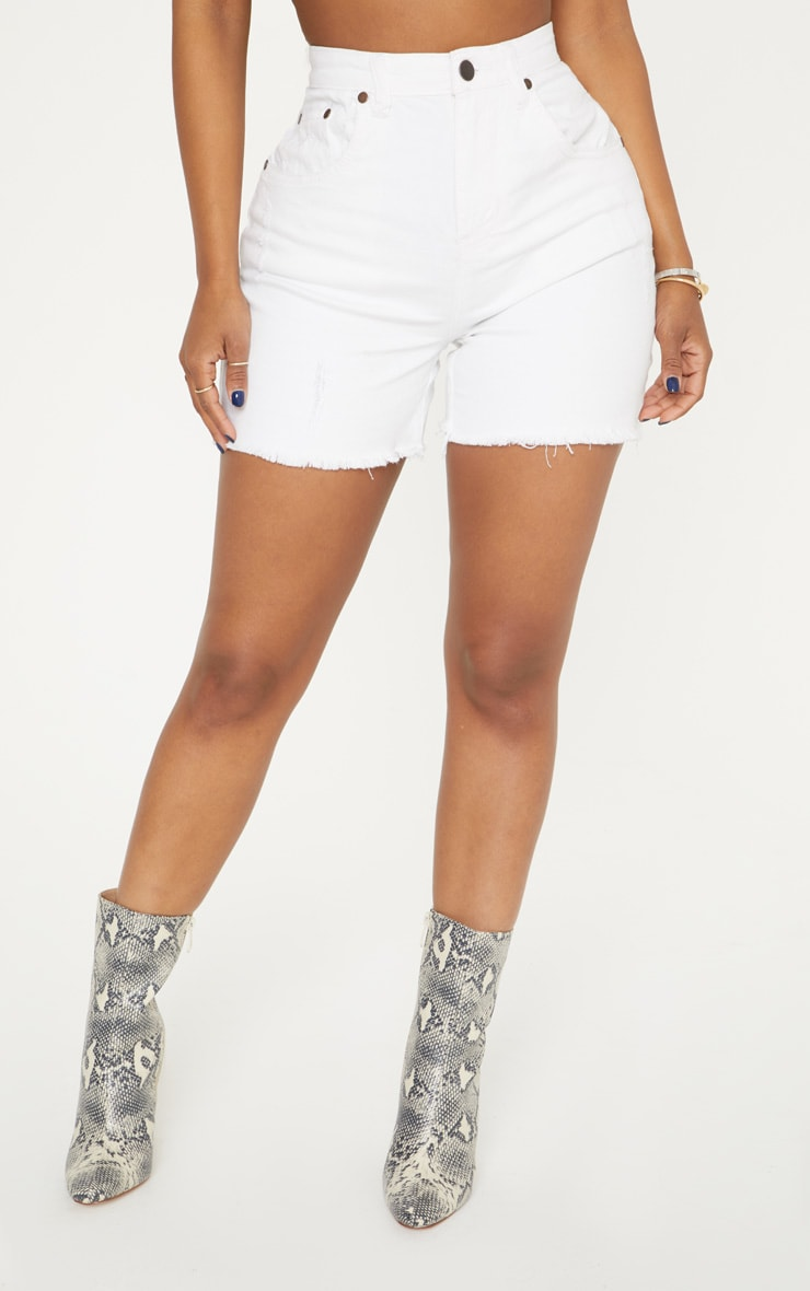 Shape White High Waisted Denim Shorts 2